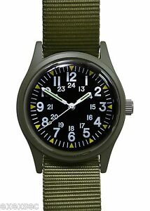 Military-Industries-Olive-Drab-1960-70s-Vietnam-War-Pattern-Military-Watch
