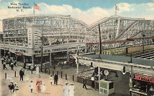 "Rockaway Beach NY ""Wolz Thriller"" Roller Coaster Boardwalk Postcard"