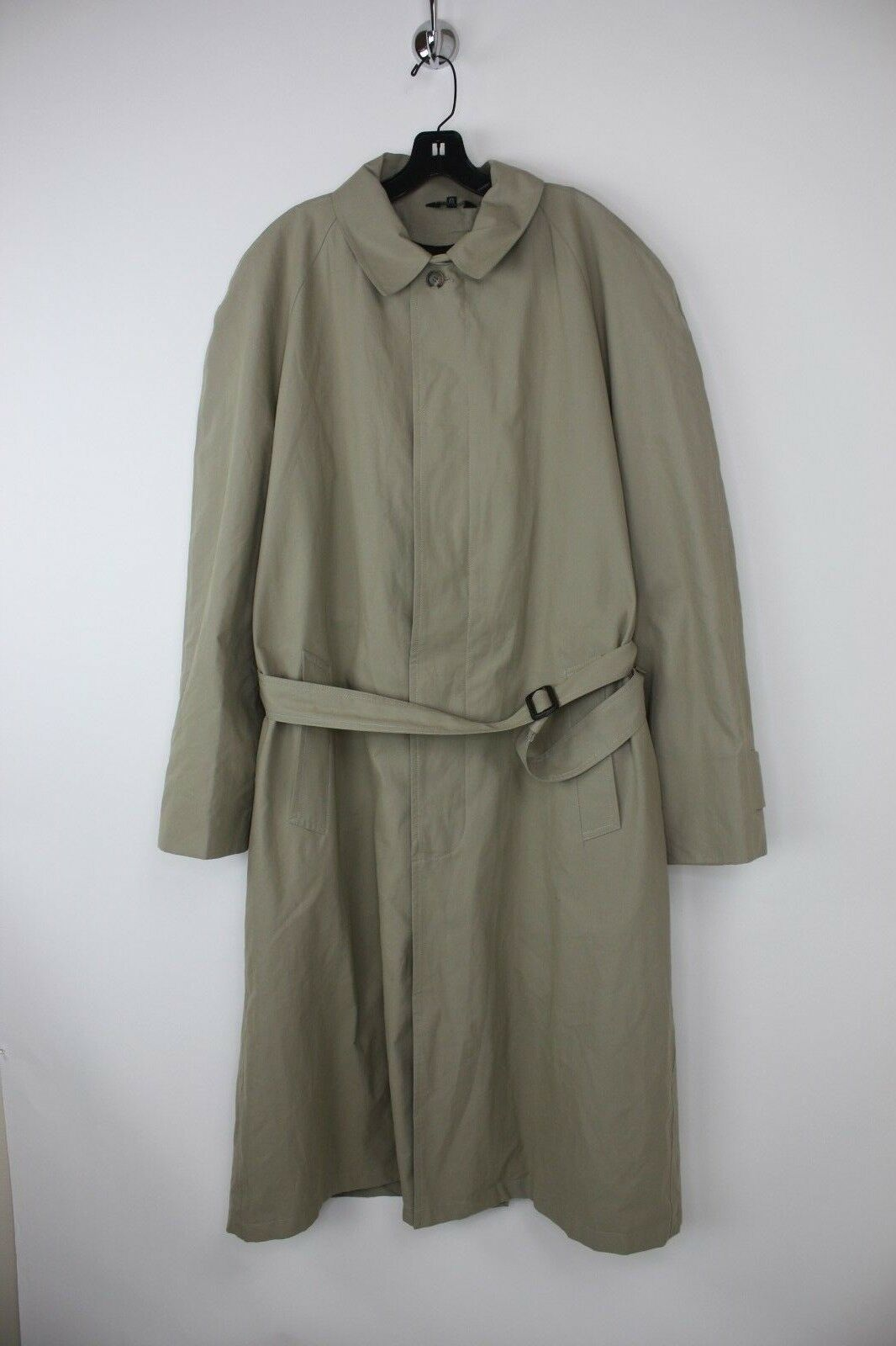 JOS A. BANK Khaki/Tan Full Length Overcoat Belted Zip Out Lining Sz 42L EUC