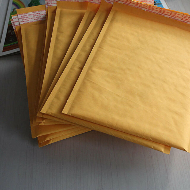 10X 200*250+40mm Kraft Bubble Bag Padded Envelopes Mailers Yellow Bags Ho _