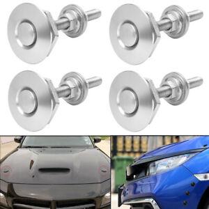 4x Silver Aluminum Push Button Quick Release Bumper Hood Pin Bonnet Lock Latch