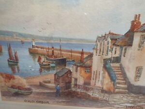 WATERCOLOR-ON-PAPER-TH-VICTOR-ARTIST-SIGNED-NEWLYN-HARBOUR