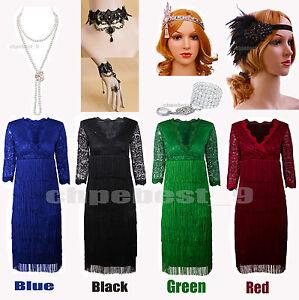 Gatsby 1920\'s Flapper Dress Tassels Fringe Vintage Style ...