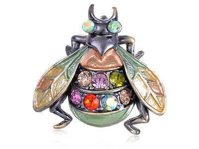 6 PC Crystal Enamel Wings Housefly Bee Bug Beetle Orange Green Brooch Pin B0469