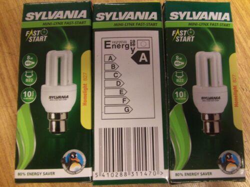 CHEAPEST ANYWHERE 3 x SYLVANIA MINI LYNX FAST START 8w  B22  £10.99 delivered
