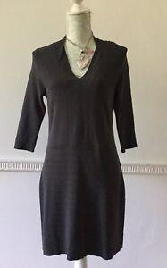 PRINCIPLES-Ben-De-Lisi-Charcoal-Viscose-Stretch-Knit-Dress-V-Neck-Size-14-Petite