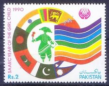 Pakistan 1990 MNH, SAARC yr ofGirl, Flags, India, Pakistan, Srilanka