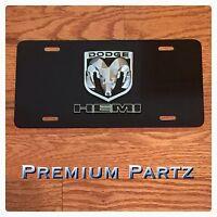 Dodge Emblem License Plate 3d Ram Hemi Head Custom Aluminum Chrome Black
