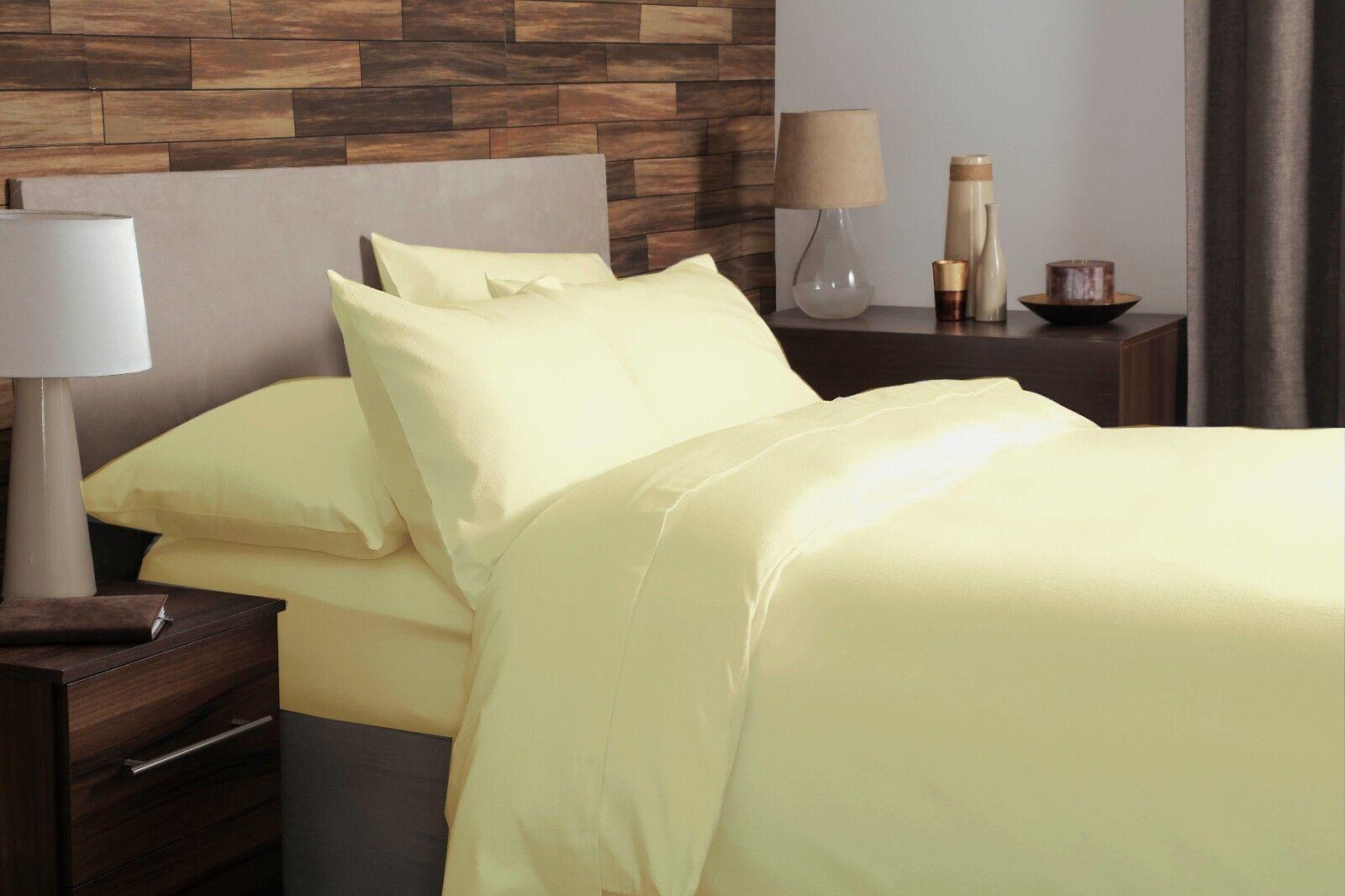100% Brushed Cotton Plain Flannelette King Größe Duvet Cover Set in Lemon