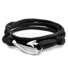 Men Women Mulitilayer Leather Twisted Wrap Fish Hook Bracelet Nautical Rope Cord