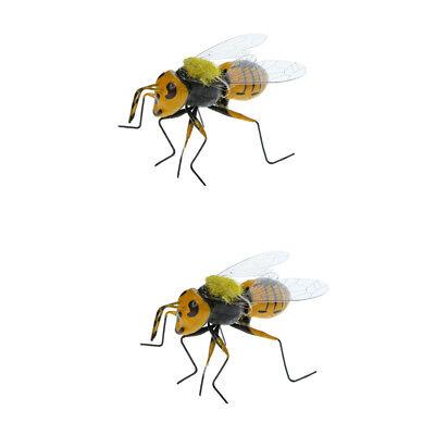 2x Realistic Bee Animals Ornament Figure DIY Home Lawn Tree Grassland Decor