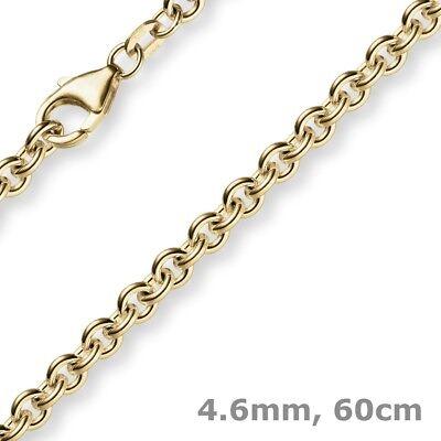 4,6mm Kette Collier Rundankerkette Aus 750 Gold Gelbgold, 60cm Herren, Goldkette Fest In Der Struktur