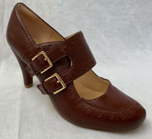 BNIB Clarks Ladies Dalia Violet Tan Leather Mary Jane Court Shoes