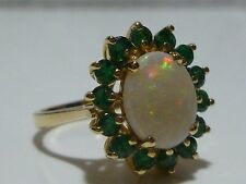 EFFY BH 14K GOLD EMERALD & 1.50CT AUSTRALIAN OPAL COCKTAIL RING BAND SIZE 6.25