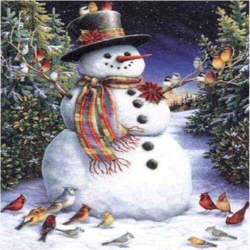 SNOWMAN AND BIRD FRIEND IN WOODS   COASTERS U PICK SET SIZE