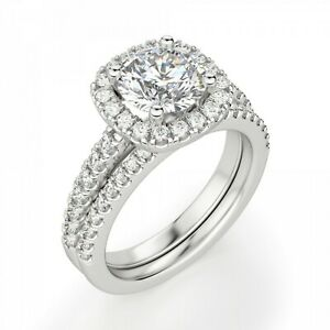 1.20 Ct Round Moissanite Band Set 14K Anniversary Ring Solid White Gold Size 7 8