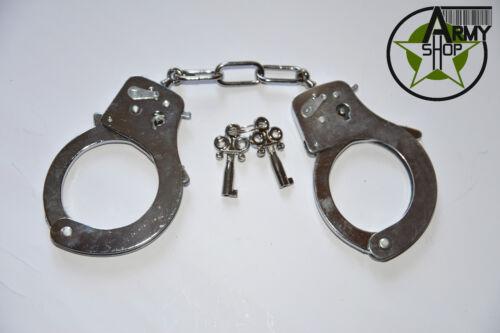 Handschellen in silber chrome farbe günstig und billig Polizei Kostüm Fasching