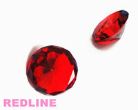 2 Piece Ruby Decorative Round Crystal Diamond Shaped Paperweight- 4''