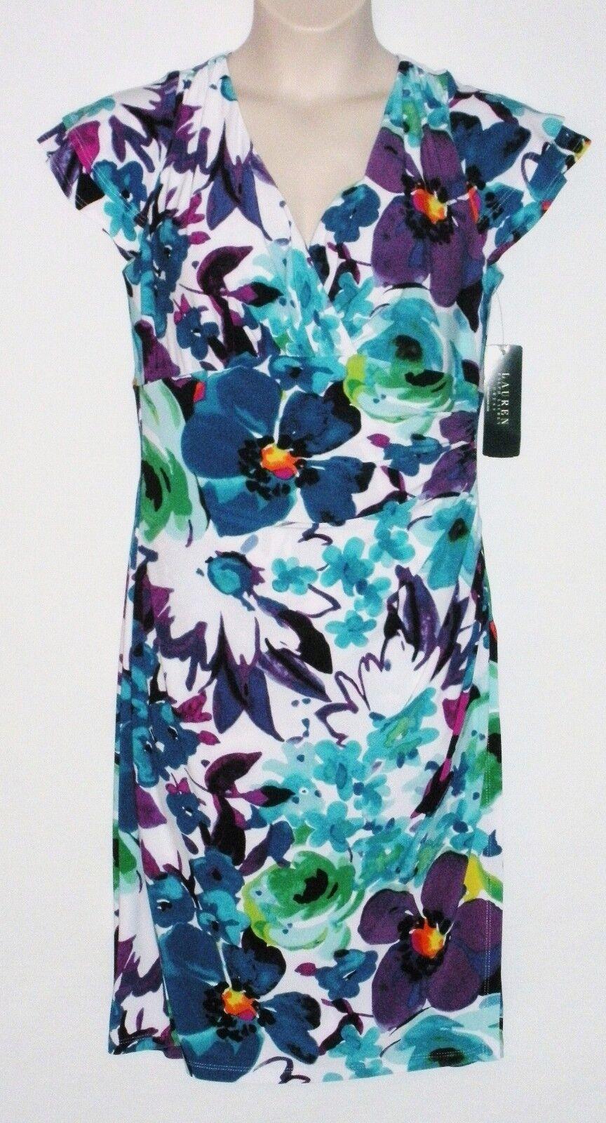 NWT LAUREN RALPH LAUREN Woherren Spring Floral Dress, Weiß Multi, Größe 4,