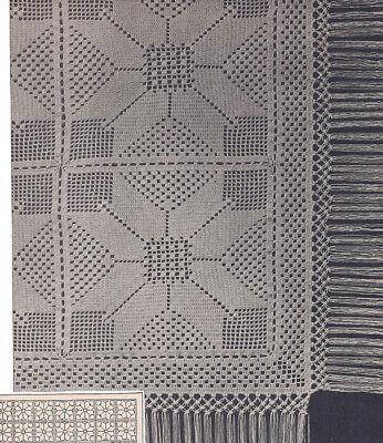 Vintage Crochet PATTERN to make Filet Motif Bedspread Block Design Windmill