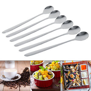 6X-Stainless-Steel-Long-Handle-Sundae-Coffee-Soup-Spoon-Teaspoons-Dining-Home-ZY