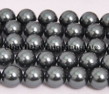10mm Black Akoya Shell Pearl Round Loose Beads Gemstones 15'' AAA Grade