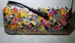 Nahui-Ollin-Candy-Clutch-Wristlet-Floral-Wrapper-Zip-Purse-Handmade-Clean-VGUC
