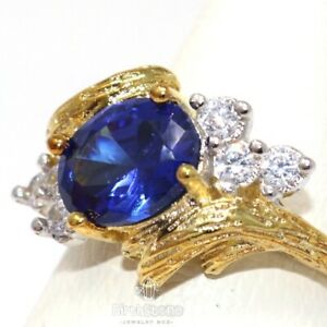 Antique-Oval-Blue-Sapphire-Ring-Women-Nickel-Free-Jewelry-14K-Yellow-Gold-Plated