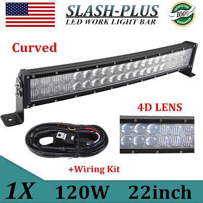 4D Lens 22in 120W LED Light Bar Flood Spot Lamp Off Road ATV SUV Ford Wiring Kit