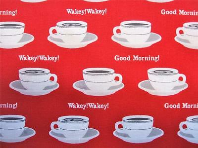 Rush Hour Red Coffee Cups Good Morning Wakey Studio E Fabric Yard SALE