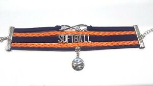 Rope-Braided-Infinity-Softball-Love-Bracelet-w-Softball-charm-Navy-Blue-amp-Orange