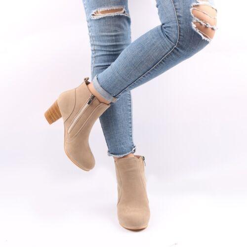 Damen Faux Fur Stiefeletten Stiefel Schuhe Boots Reißverschluss Kurzschaft KUS