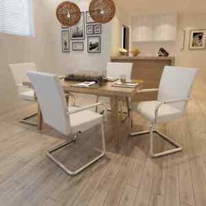 Dettagli su vidaXL 4x Sedie da Pranzo in Similpelle Bianche Moderne Salotto Sala Seggiole