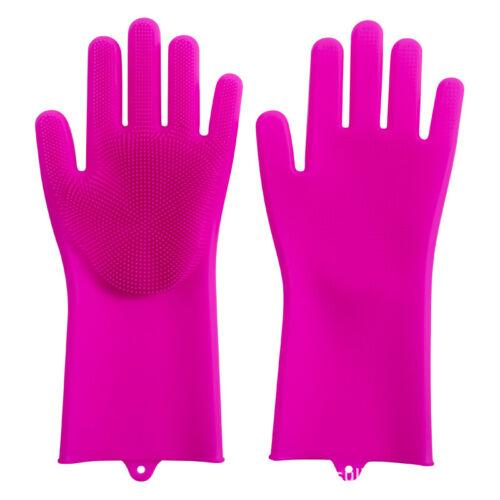 1Pair Magic Silicone Dishwashing Scrubber Rubber Scrub Gloves Kitchen Clean Tool