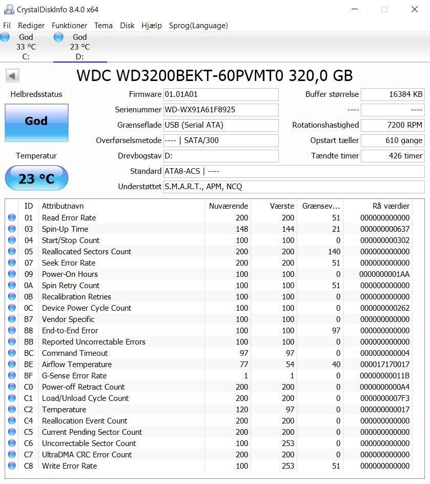 WD Scorpio Black WD3200BEKT, 320 GB, God