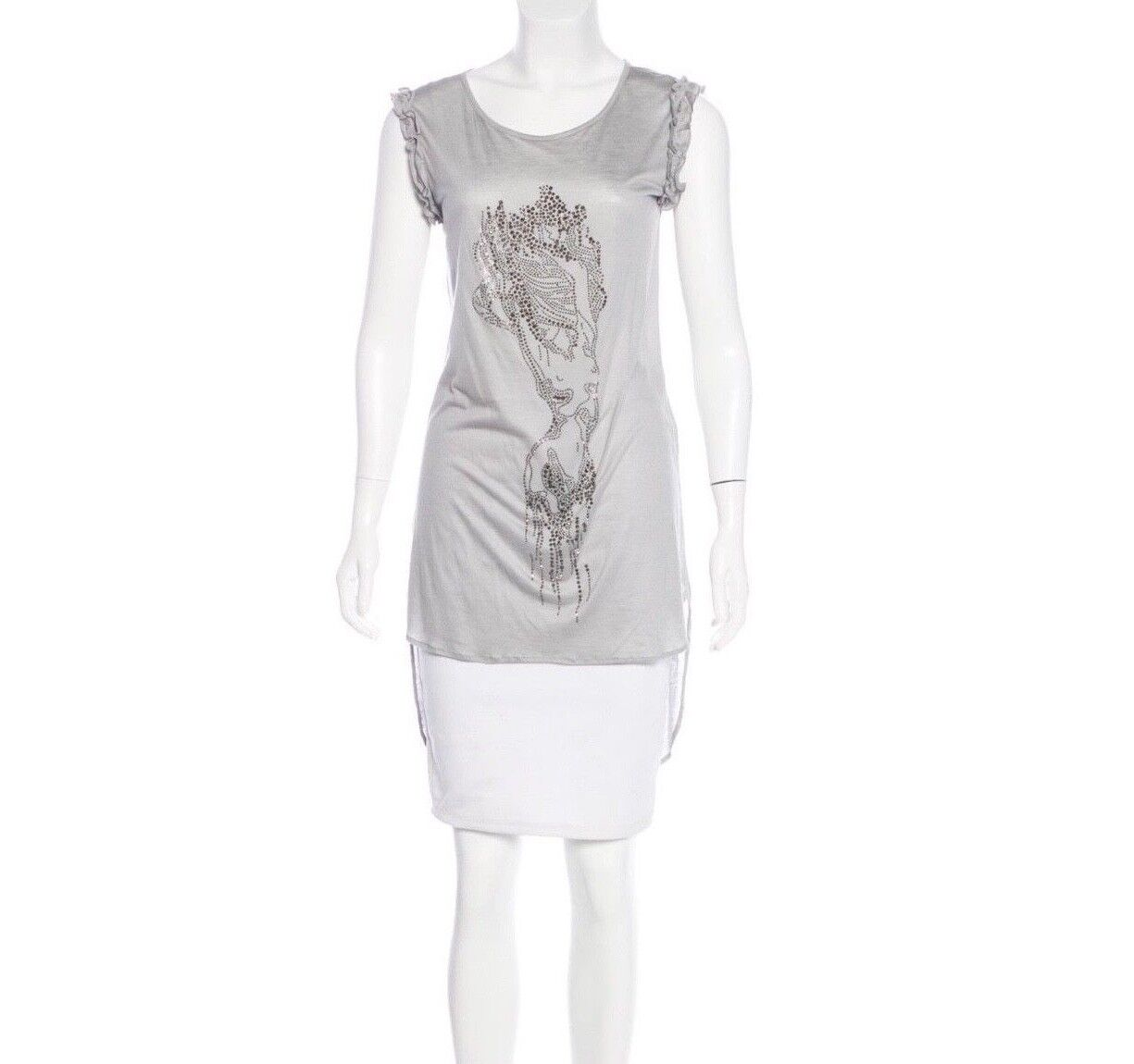 Thomas Wylde Grey Embellished Sleeveless Tunic Shirt, Dress New. Size L.