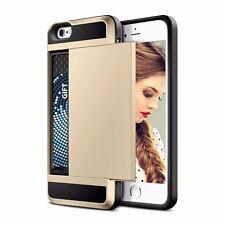 New Credit Card Slot Sliding Back Soft Case Cover iPhone 5 5s SE 6 6s 6 Plus