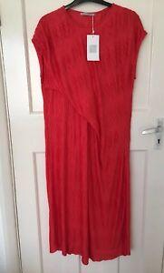 ZARA-RED-PLEATED-CREASED-DRESS-WITH-ASYMMETRIC-HEM-SIZE-S-BNWT