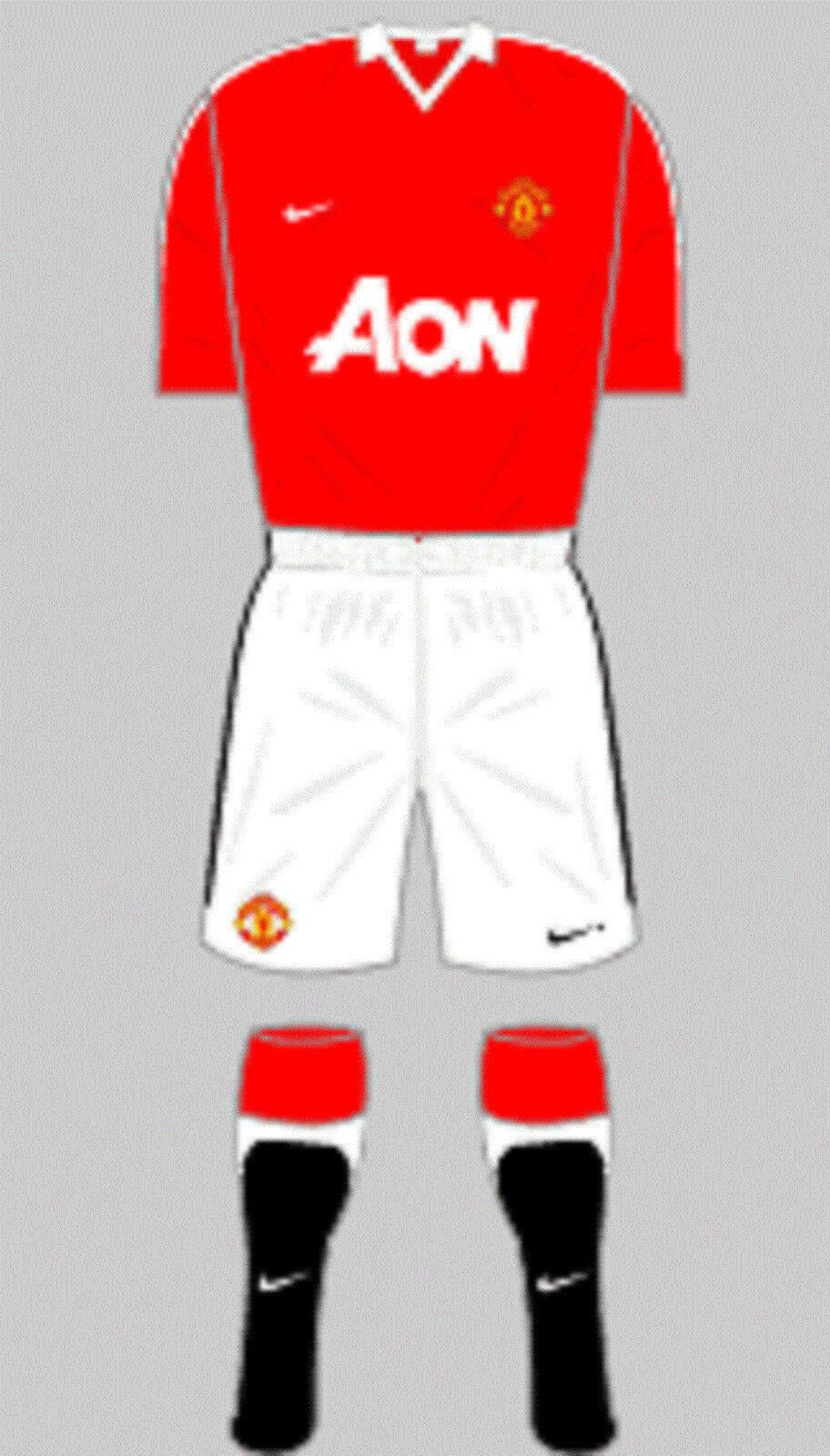 Para hombres camisa y pantalón corto de fútbol Kit-Manchester United-Home 2010-Nike-Talla L
