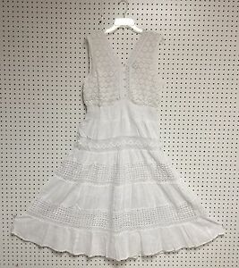 Women-Missy-Size-Cotton-White-Sleeveless-Boho-Peasant-Crochet-Lace-Dress-NWT