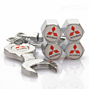 Car-Accessories-Tire-Valve-Caps-Valve-Dust-Covers-Wrench-Keychain-For-Mitsubishi