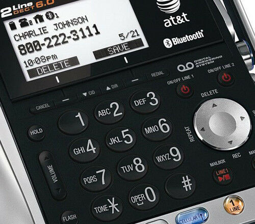 AT/&T TL86109 DECT 6.0 Corded Cordless Handset Phone w// Digital Answering Machine