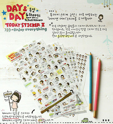 Today Sticker II 6 sheets Korean Stationery Day & Day Calendar Stickers Set BN