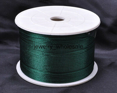 1MM 2MM Nylon Chinese Knot Satin Macrame Beading Jewelry Rattail Cords 14 Colors