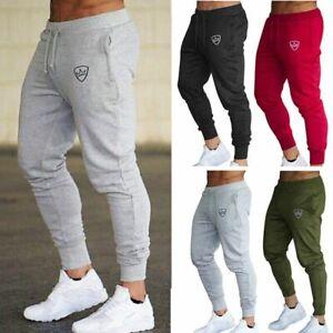Mens Slim Fit Tracksuit Gym Sports Skinny Jogging Joggers Sweat Pants Trousers