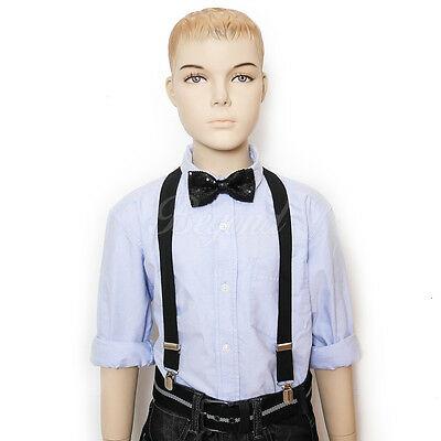 Kid Fashion Tuxedo Suspender /& Bow Tie Set School Boys Girls Children Brown