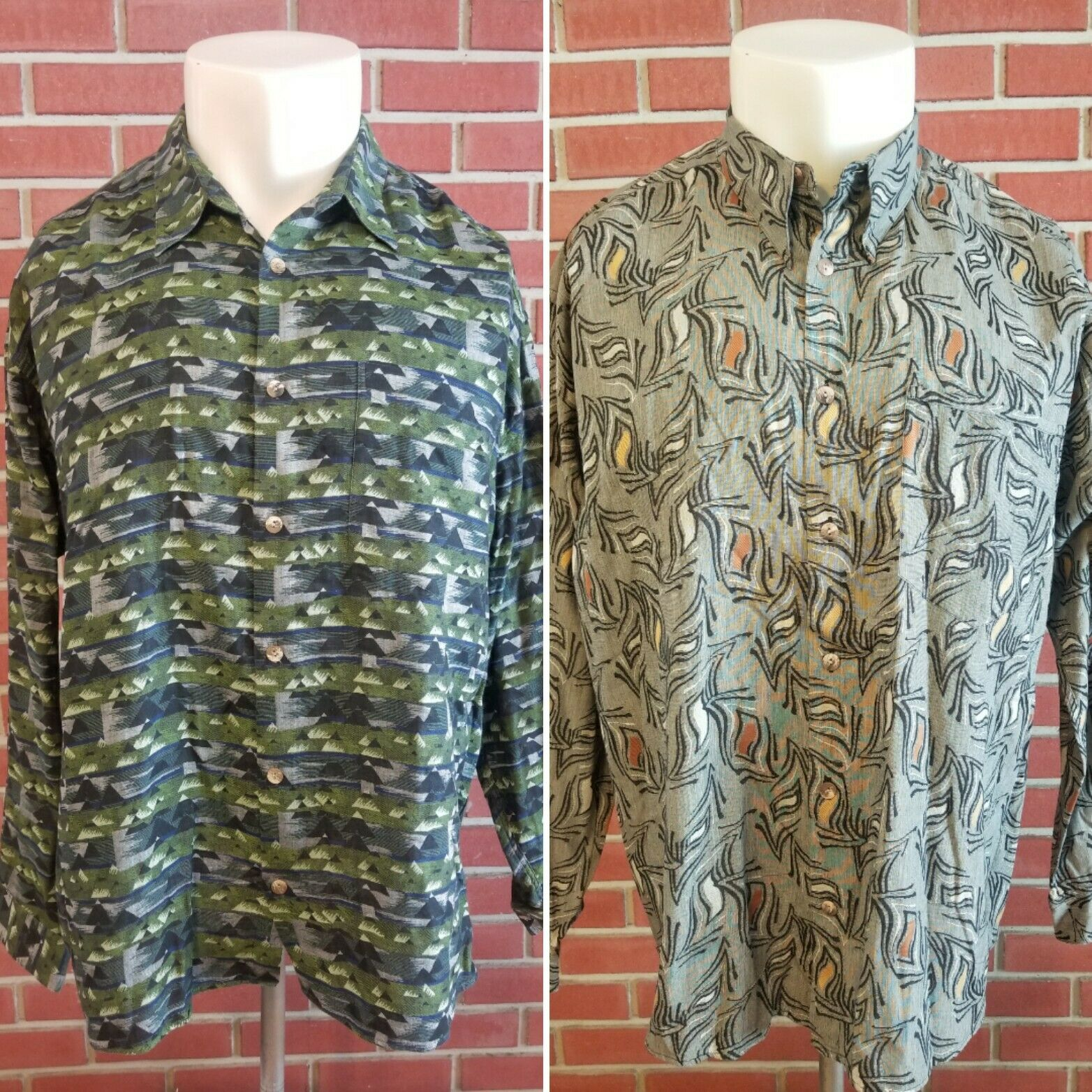 Jhane Barnes (Lot of 2) Long Sleeve Button Front Shirt Mens Size XL 100% Cotton