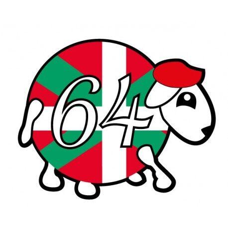 mouton 64 basque logo2 autocollant voiture stickers Taille:8 cm