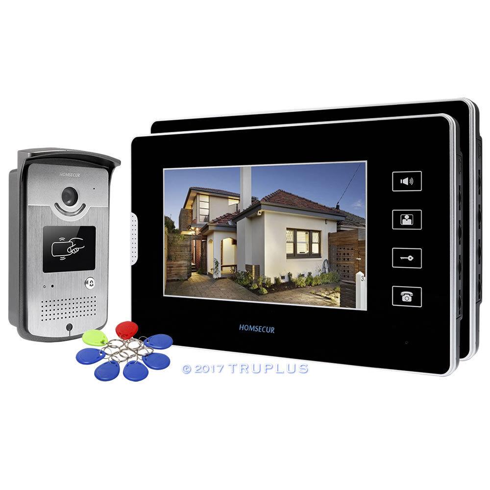 HOMSECUR 7  botón táctil LCD Video Intercomunicador Timbre de puerta con mandos de RFID desbloquear