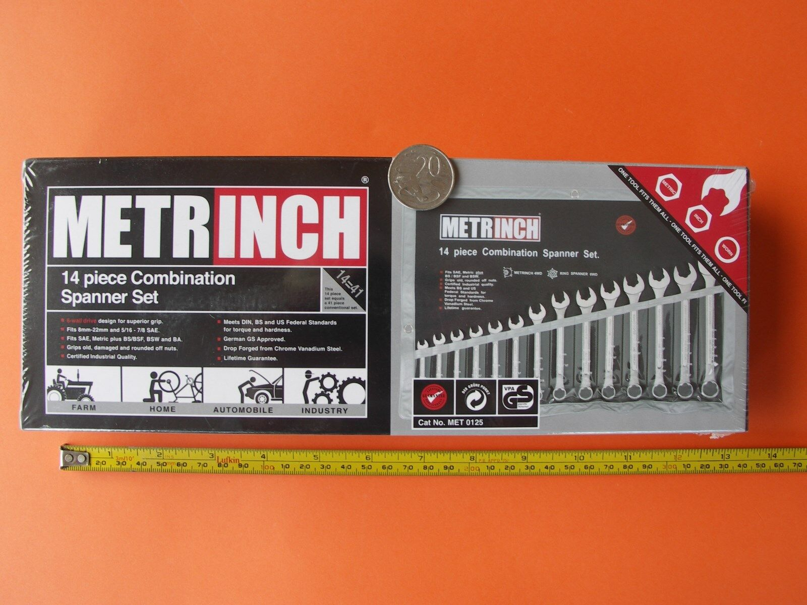 SPANNER COMBINATION WRENCH SET METRINCH 14pce met 8-23mm a f 5 16  - 7 8  + BSW